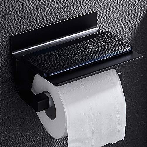 Micoe Toilettenpapierhalter mit Handyablage Wandhalterung Lochfreie, selbstklebende Papierhandtuchrolle für Badezimmer, Aluminium, Schwarz