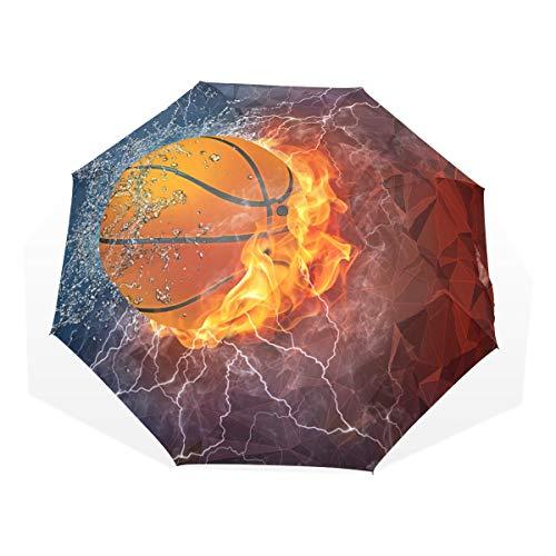 XiangHeFu Regenschirm Basketball Feuer EIS und Blitz automatisch, 3-Fach faltbar, leicht, UV-Schutz