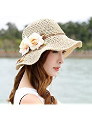 LKMNJ La Sra. Sun Sombreros Sombreros Sombrero de Paja plegable Software borde ancho playa ,M amarillo