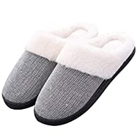 Hawiton Womens/Mens House Slipper Fuzzy Plush Lining Slip On Shoes Anti-Skid Sole for Indoor/Outdoor Winter Light Grey