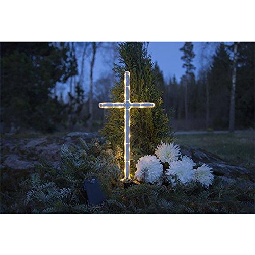 Kamaca Großes LED Grab Kreuz mit Timer und geschütztem Batteriefach - 41 x 22 cm - Perfekt geeignet für den Outdoor - Einsatz bei jedem Wetter (LED Grabkreuz)