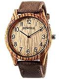 Alienwork Quarz Armbanduhr massive Naturholz Uhr Herren Uhren Damen handgefertigt Canvas gelb braun UM-W124B-02