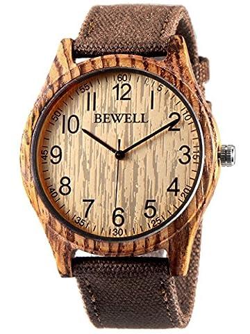 Alienwork Quarz Armbanduhr massive Naturholz Uhr Herren Uhren Damen handgefertigt Leinwand gelb braun UM-W124B-02