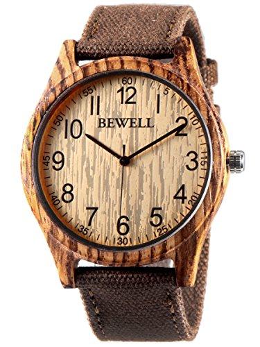 Alienwork Unisex Armbanduhr Herren Damen Uhr Canvas Armband Lederband braun Analog Quarz Herrenuhr Damenuhr gelb Wasserdicht massive Naturholz handgefertigt