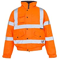 High Visibility Jacket Hi Vis Bomber Jacket Padded Winter Warm Jackets Concealed Hood All Sizes S TO 4XL (Medium, Orange)