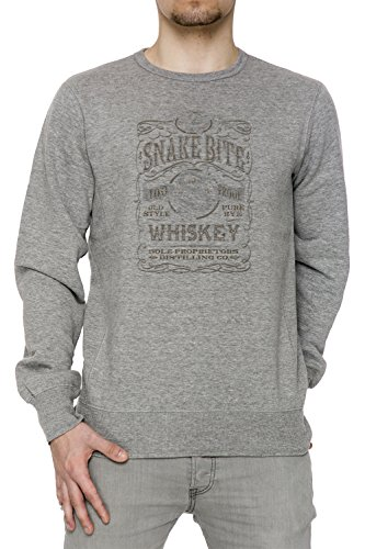 Snake Bite Uomo Grigio Felpa Felpe Maglione Pullover Grey Men's Sweatshirt Pullover Jumper