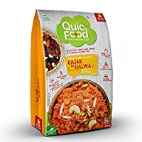 QuicFood Gajar Ka Halwa- Ready to Eat Food (Freeze Dried Pouch) Indian Sweet Dish of Approx 220 gm Re-hydrated Weight (net Weight 120 gm)