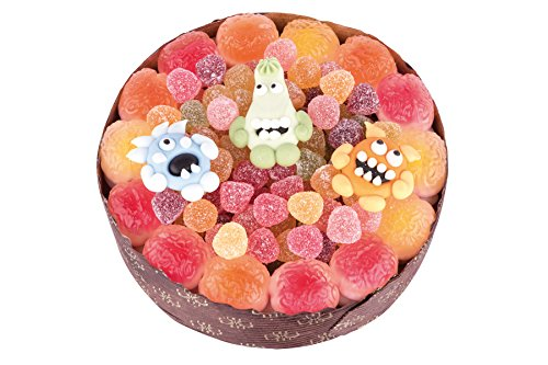Gruselige Monster-Torte zu Halloween. Süßes und Saures: Die Fruchtgummi-Torte mit einem Mix aus Fröschen, Superhirnen, Monster, 370g