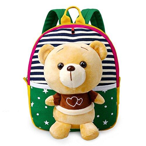 Bsjy 3d poupée Sac à dos enfant bébé garçon fille Sac à dos en peluche avec amovible jouet G Bear taille unique