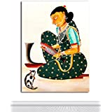 Tamatina Kalighat Canvas Paintings - Beautiful Bengali Woman - Traditional Kalighat Paintings - Kalighat Paintings - Paintings For Drawing Room - Paintings For Bed Room - Kalighat Paintings For Living Room - Paintings For Wall - Paintings For Living Room