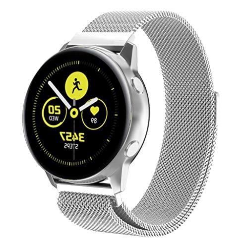 MMLC Samsung Galaxy Watch Active Armband Milanese-Schnellverschlussband mit Schnellverschluss Band (Silver) (Band Für Protector Watch Leder)