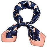 Qinlee Kleiner Quadratische Schal Flamingos Muster Satin Halstuch Druck Stil Kopftuch Bandana Damen Mädchen Frühling-Sommer Schal (Dunkelblau)
