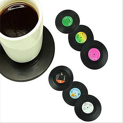 preadvisor (TM) 6pcs/Set nueva llegada casa mesa Copa Mat Creative Decor Café Bebida Mantel individual Retro disco de vinilo posavasos de registro B15