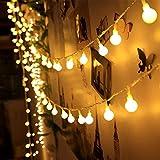 Lichterkette Glühbirnen Kugel LED mit Stecker Wamweiß Lichterketten mit 100 Kugeln, 10 Meter Erinnerungsfunktion Verbindlich 8 Lichtereffekt für Weihnachten Zimmer Party Weihnachtsbeleuchtung