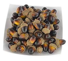 Idea Regalo - JEDFORE 60PCS Artificiale Frutta Nutty-Brown ghiande realistica Simulazione Small Acorn Set per Tavolo di Caduta Disegno Fai da Te, Cucina, casa e Autunno Decorazione