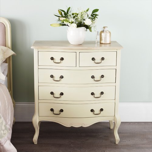juliette shabby chic champagne frech crem chest of 5