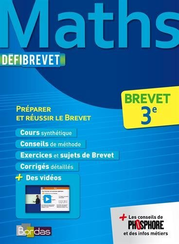Dfibrevet Cours/Mthodes/Exos Maths 3e by Collectif (2014-07-02)
