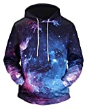 Pizoff Unisex Hip Hop Sweatshirts druck Kapuzenpullover mit Farbkleks 3D Digital Print galaxy sternhimmel, Y1760-79, Gr. XL