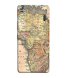 PrintVisa Designer Back Case Cover for Lenovo A7000 :: Lenovo A7000 Plus :: Lenovo K3 Note (The Great Africa Political Map Design)
