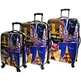 5 Cities Hard Shell Polycarbonate 4 Wheel Spinner Luggage Suitcase Travel Trolley Cases with TSA Approved 3-Digit Combination Lock