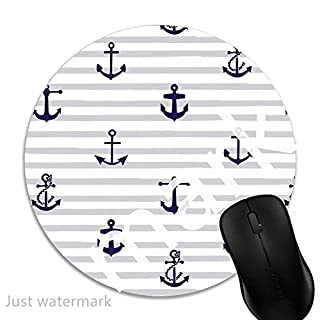 Maus-Pad Nautische Ancor und Streifen,7 inch rund Mouse-Pad mit rutschfester Unterlage Standard 1V97