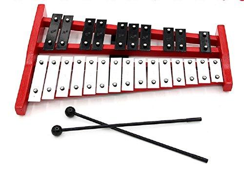 Glockenspiel 25 Töne, AKAUFENG Xylophon Schlaginstrumente Kinder pädagogisches Spielzeug mit zwei Schläger und einer Tasche