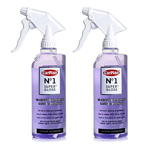 Price comparison product image 2 x Carplan No.1 Super Gloss 600ml - Car Paintwork Glass Rubber Chromer Treatment