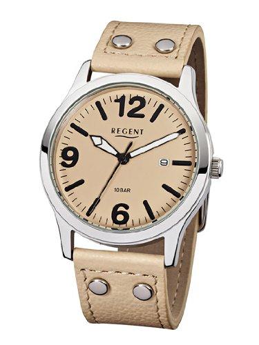 REGENT BA-226 - Reloj para hombres, correa de cuero color arena