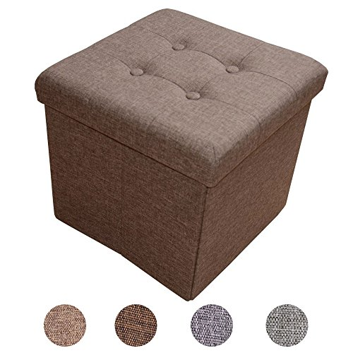 Style home Sitzbank Sitzhocker Sitzwürfel Aufbewahrungsbox Fußbank Hocker faltbar belastbar Leinen 2638-12-Braun Farbauswahl Größenauswahl