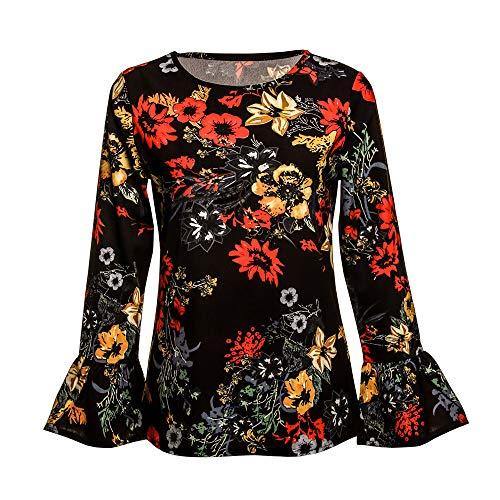 Damen Sweatshirt,Beikoard Damen Lässige Chiffon Blumendruck T-Shirt Bluse Sweatshirt Frauen...