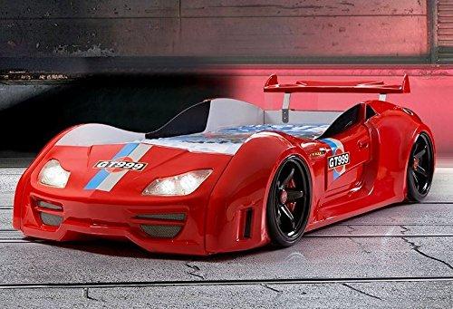 Autobett GT Rennfahrerbett Kinderbett LED-Licht Sound Spielbett Bett Rot