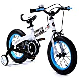 ROYAL BABY BUTTONS FREESTYLE BMX KIDS BIKES BLUE RIME WHITE FRAME IN SIZE 14 INCH WITH HEAVY DUTY REMOVABLE STABILISERS. (BLUE RIM-WHITE FRAME, BUTTON-14)