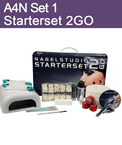 Aktive4Nails Nagestudio Starterset 2Go Nr.1 UV Gel Nagel Set Nagelstudioset + 1x COLOR GEL GRATIS Colorgel Braun Goldglitter 5ml Nr. 210 leicht zu verarbeiten Herbst Winter Farbe