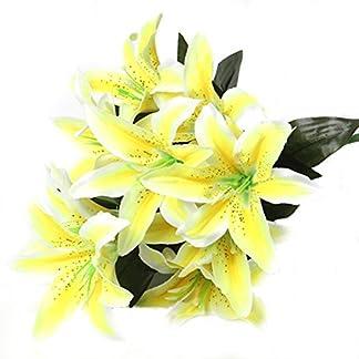 Vikenner – Ramo de flores artificiales de lirio de seda para novia, 10 cabezas, color azul, seda sintética, amarillo, Lenth: 40cm