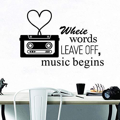 BFMBCH Love Tape Music Start Wandaufkleber Vinyl Wohnkultur Applikation Kinderzimmer Wohnkultur Kunst Wandaufklebergruppe GELB L 43cm X 62cm -