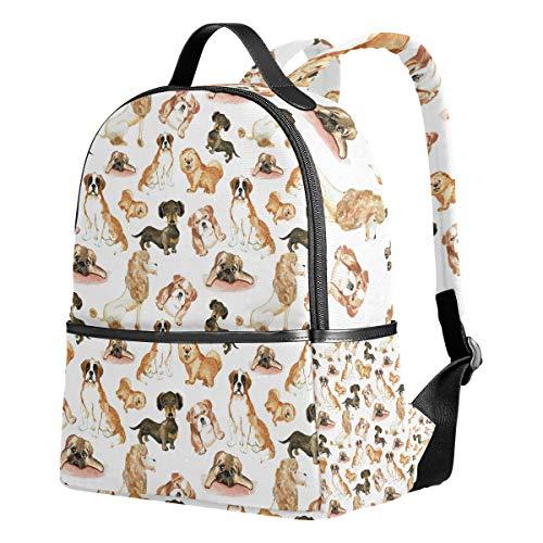 Ahomy Rucksack mit Wasserfarbe, Cartoon-Mops, Welpen, Hund, Reisen, Camping, Schule, für Mädchen Jungen und Frauen