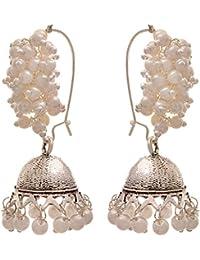 JFL - Traditional And Ethnic One Gram Gold Plated Moti Designer Small Jhumki Bali Earring For Girls And Women