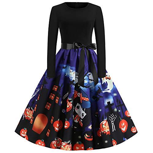 Dicomi Frauen Neue Halloween Kürbis Print Kleid Rundhals Reißverschluss Hepburn Partykleid D Blau XL (Machen Tiger Tail Kostüm)