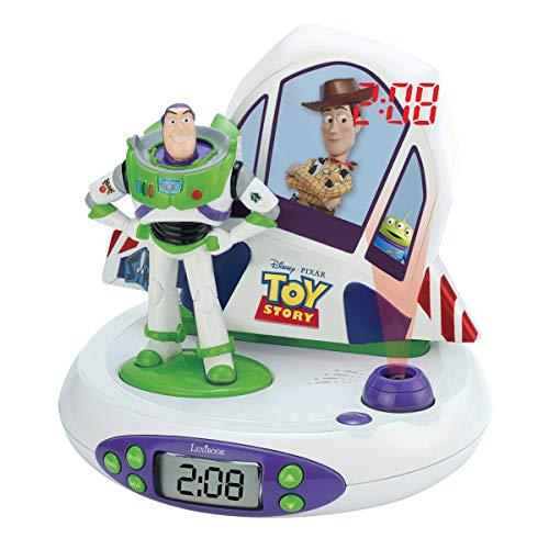 LEXIBOOK- Toy Story, Disney Pixar - Radio Reloj Despertador con Buzz y Woody, proyección Luminosa de la Hora en el Techo, Efectos sonoros, Funciona con Pilas (RP505TS), Color Blanco/Verde (