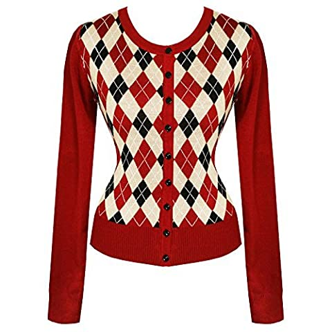 Banned Dancing Days Preppie Argile Strass 1960s Vintage Rétro Cardigan Haut - Bordeaux Rouge, 10 S