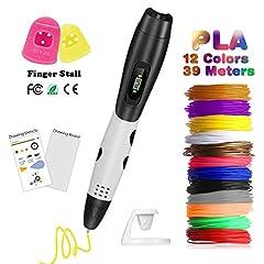 Idea Regalo - Penna 3D con Schermo LCD,Fede Penna 3D con 12 Filamenti 1,75mm PLA Supplementari e Colori Diversi,Ogni di 3,3 Metri e Totale di 39,6 Metri,Penna Stampata 3D è un Regalo Perfetto per Bambini,Adulti