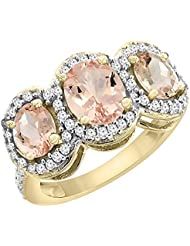 14ct oro amarillo Natural colgantes 3-anillo de piedra Oval acento Diamante, Tamaños J - T