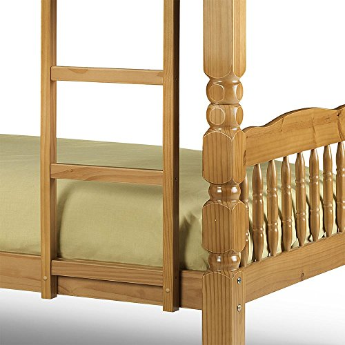 Happy Beds Chunky Standard Two Sleeper 3' Solid Thick Strong Pine Wood Bunk Bed With 2x Pocket Spring Mattresses