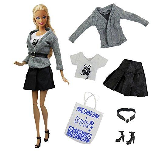 ZITA ELEMENT 6tlg Puppen Kleidung Set für Barbie Mode Handgefertigte Bekleidung Puppe Kleider Outfits Tasche Schuhe Mantel