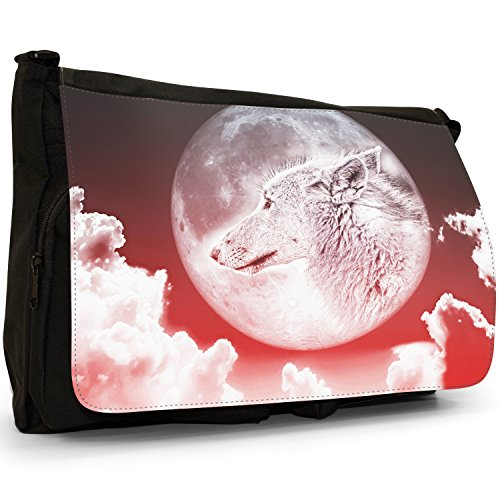 Lupo mannaro, colore: nero, Borsa Messenger-Borsa a tracolla in tela, borsa per Laptop, scuola Moonlight Wolf - Red