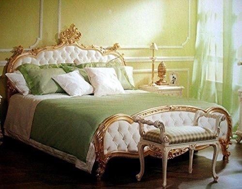 LouisXV Barock Bett Kingsize Bett 200x200 Schlafzimmer Antik Stil Vp7723/K antik Stil Massivholz. Replizierte Antiquitäten Buche (Ahorn, Mahagoni, Eiche) Antikmessing Beschläge, furniert, intarsiert