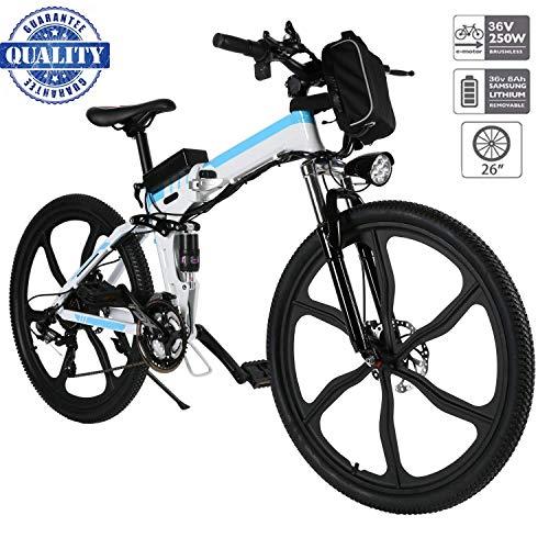 fiugsed Elektrofahrrad Mountainbike 26 Zoll E-Bike 36V, 250W Das-Kit Heckmotor, 21 Gang Shimano Gangsc (26 Zoll Weiß)