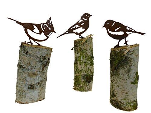 ARTTEC Design 3er Set Vogel/Haubenmeise - Buchfink - Kohlmeise (Rostdeko)