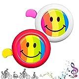 CUKCIC Campanello da Bicicletta per Bambino Bicicletta Corno per Ragazzo Ragazza Clear Sound Arcobaleno Sorriso 2pezzi (Bianco-Rosa; Rosso-Giallo)