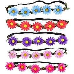 5 piezas de corona de diadema de flor de margarita multicolor con cinta elástica ajustable (color aleatorio)